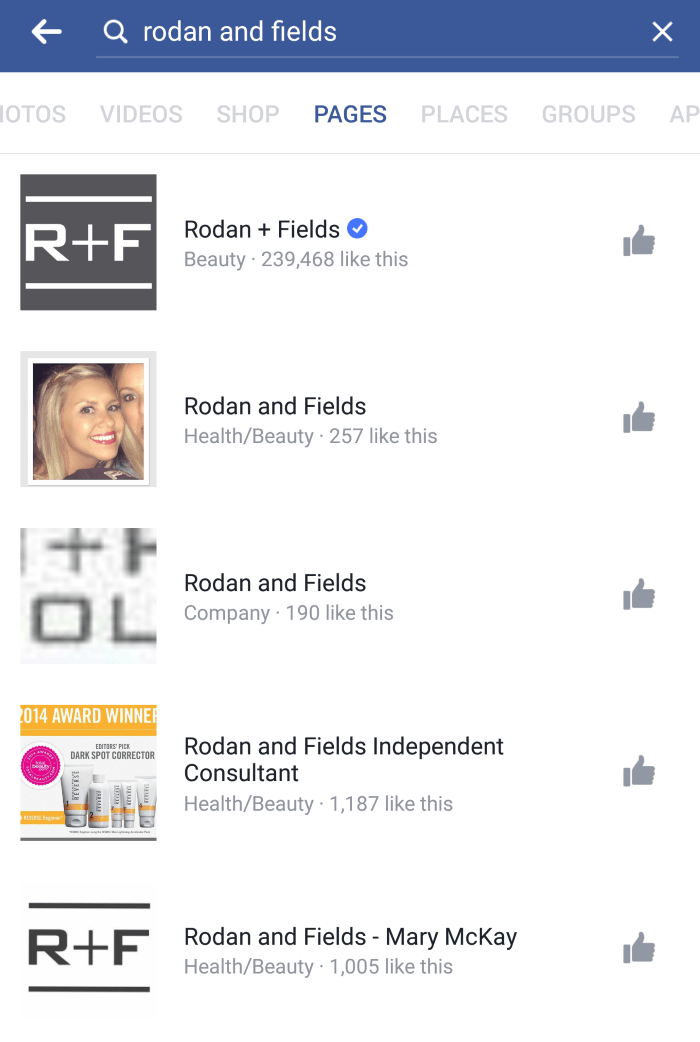 Rodan and Fields Facebook Pages examples